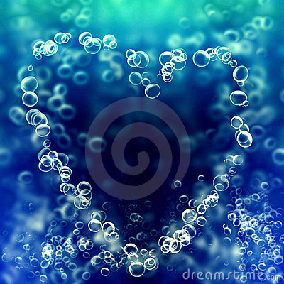 Air bubbles in the shape of heart
