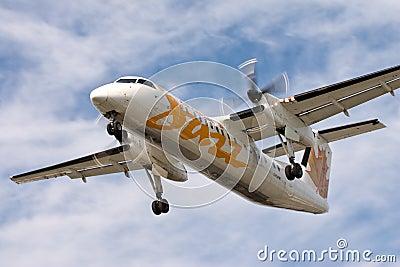 Air Canada Jazz Dash 8 plane landing Editorial Image