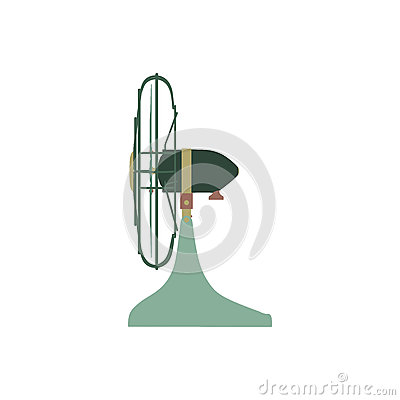 Free Air Conditioning Vector Color Green Fan, Home Climate Equipment Flat Side View Isolated On White Background. Stock Photo - 84978590