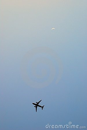 Air craft with the Moon