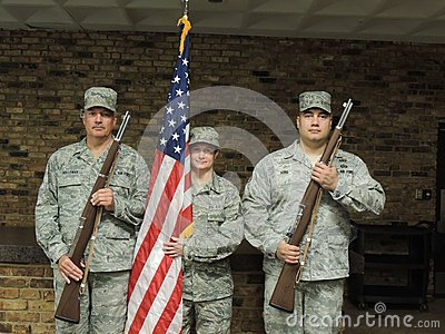 Air Force Color Guard with Rifles and Flag Editorial Image