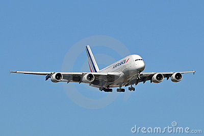 Air France Airbus A380 Landing Editorial Image