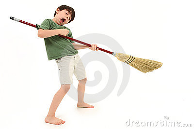 Air Guitar with Broom