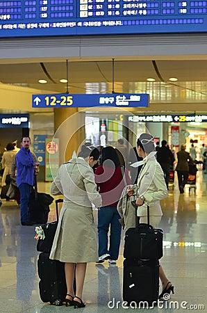 Air hostes in Airport Terminal Editorial Photo
