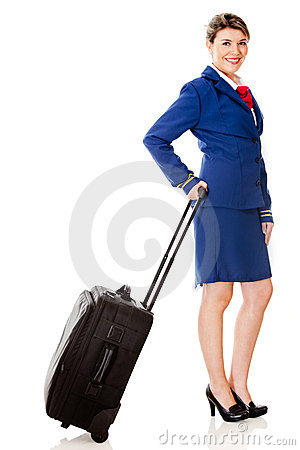 Air hostess with a bag