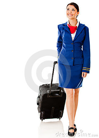 Air hostess with bag