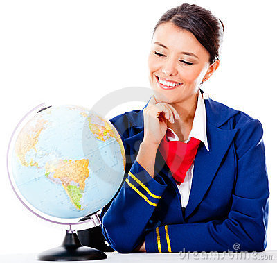 Air hostess with a globe