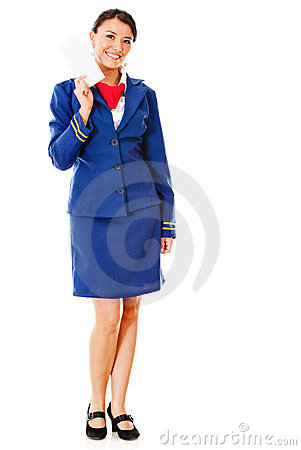 Air hostess holding ticket