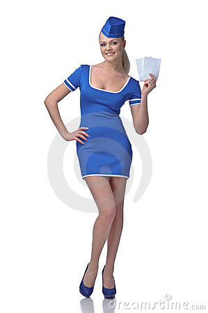 Air hostess holding two tickets to the flight