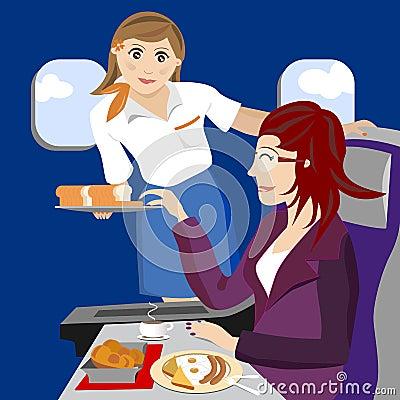 Air hostess on plane