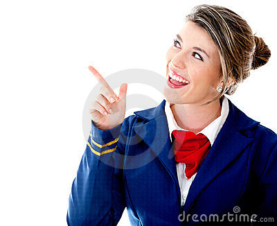 Air hostess pointing