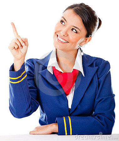 Air hostess pointing with finger
