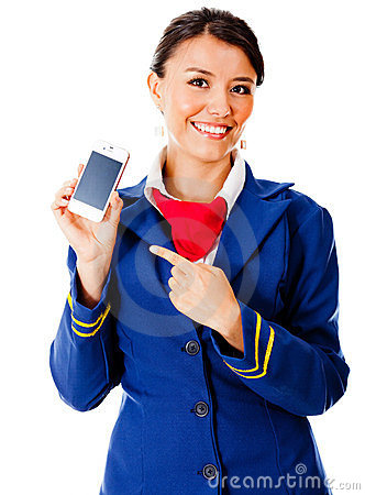 Air hostess with a smart phone
