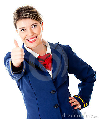 Air hostess with thumbs up