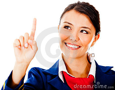 Air hostess touching with finger