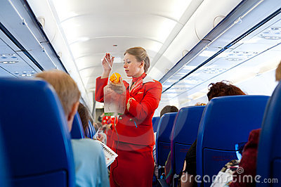 Air hostess at work Editorial Photo
