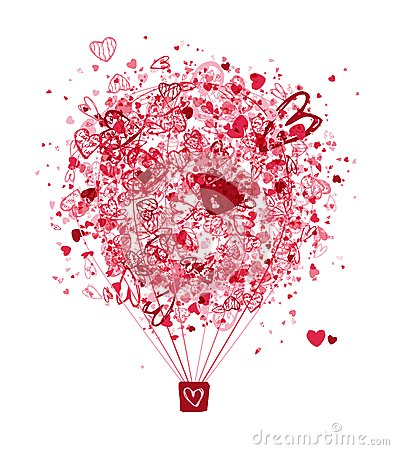 Free Air Love Concept, Balloon With Hearts For Your Stock Photos - 28771053