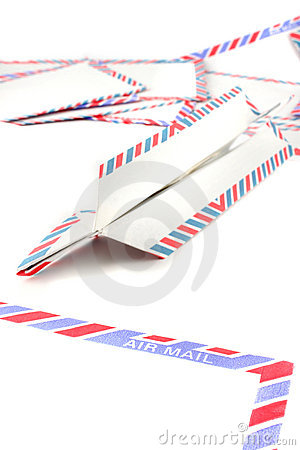 Free Air Mail Envelopes With Paper Plane Royalty Free Stock Images - 12391829