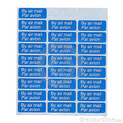 Air mail labels