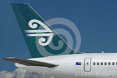 Air New Zealand plane. Sky. Editorial Stock Photo