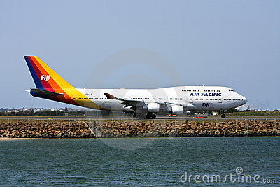 Air Pacific Boeing 747 jet on runway Editorial Stock Photo