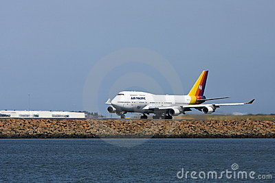 Air Pacific Boeing 747 jet on runway Editorial Stock Image