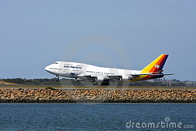 Air Pacific Boeing 747 jet on runway Editorial Image