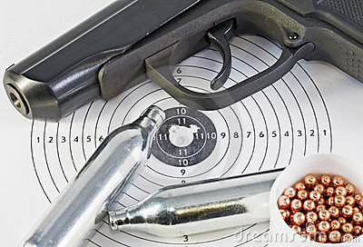 Air pistol and spare parts for weapons