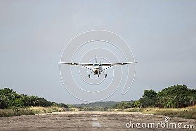 Air plane above runway