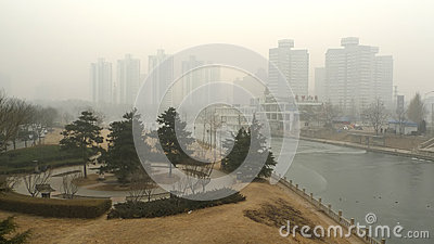 Air pollution in Beijing Editorial Stock Photo