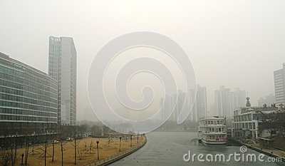 Air pollution in Beijing Editorial Stock Image