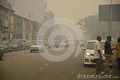 Air Pollution Haze hazard at Malaysia Editorial Stock Photo