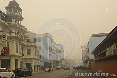 Air Pollution Haze hazard at Malaysia Editorial Photography
