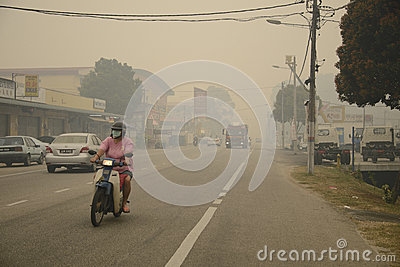 Air Pollution Haze hazard at Malaysia Editorial Stock Image
