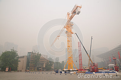 Air pollution and one of sources Editorial Stock Photo