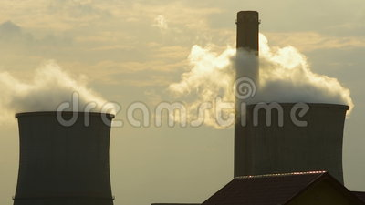 Air pollution. Two big chimneys for air pollution concept stock footage