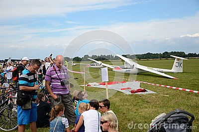 Air show - visitors admire planes Editorial Stock Image