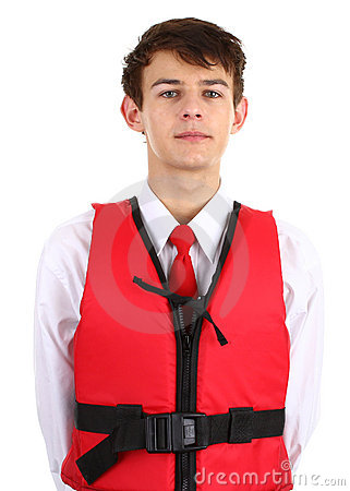 Air stewardess with life jacket