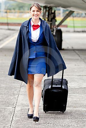 Air stewardess walking