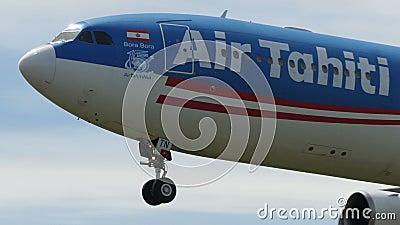 Air Tahiti Nui Airbus A340, der nach Narita landet stock video