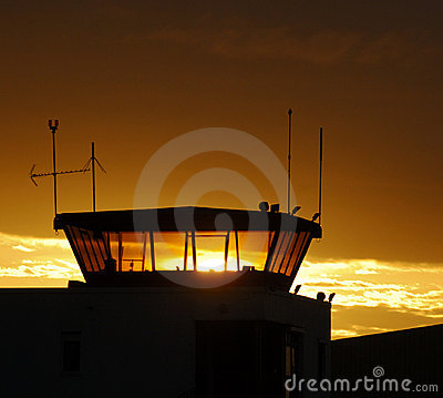 Free Air Traffic Control Tower On Sunset Sky Royalty Free Stock Image - 16048616
