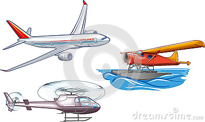 An illustration of several basic types of air transportation.