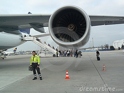 Airbus A340 engine Editorial Stock Photo