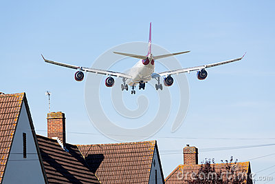Airbus A340 Virgin Atlantic lands at Heathrow Editorial Image