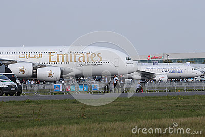 Airbus A380 and A320 Editorial Stock Photo
