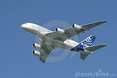 Airbus A380 in the air. Editorial Photography