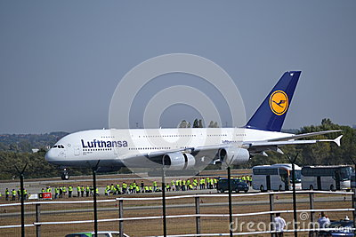 Airbus A380 in Budapest Editorial Stock Image