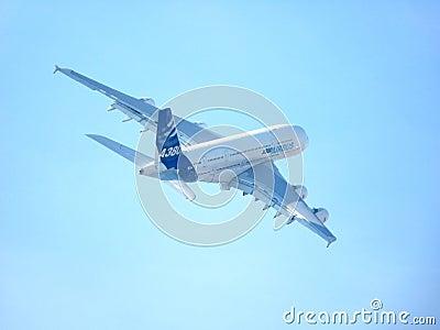 Airbus A380 Demonstration at Dubai Air Show Editorial Photo