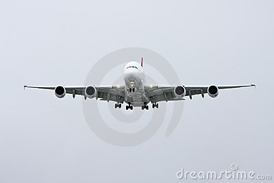 Airbus A380 in flight - front view