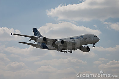 Airbus A380 flying Editorial Stock Image